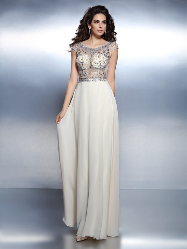 A-Line Bateau Floor-Length Champagne Prom Dresses with Beading