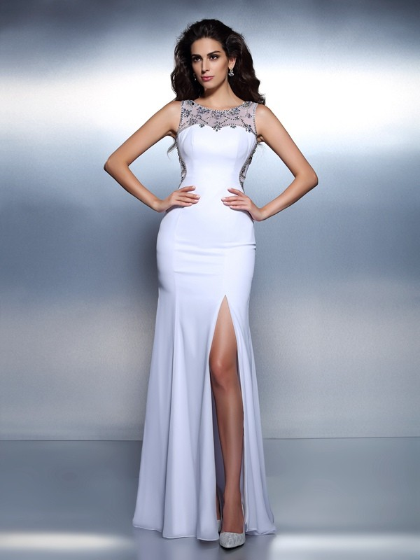 Chiffon Bateau Floor-Length White Prom Dresses