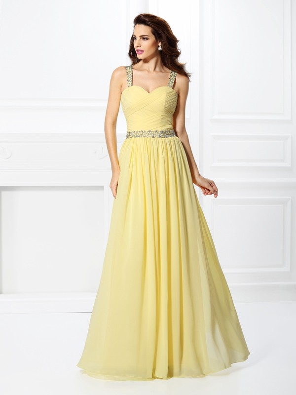 A-Line Sweetheart Floor-Length Daffodil Prom Dresses