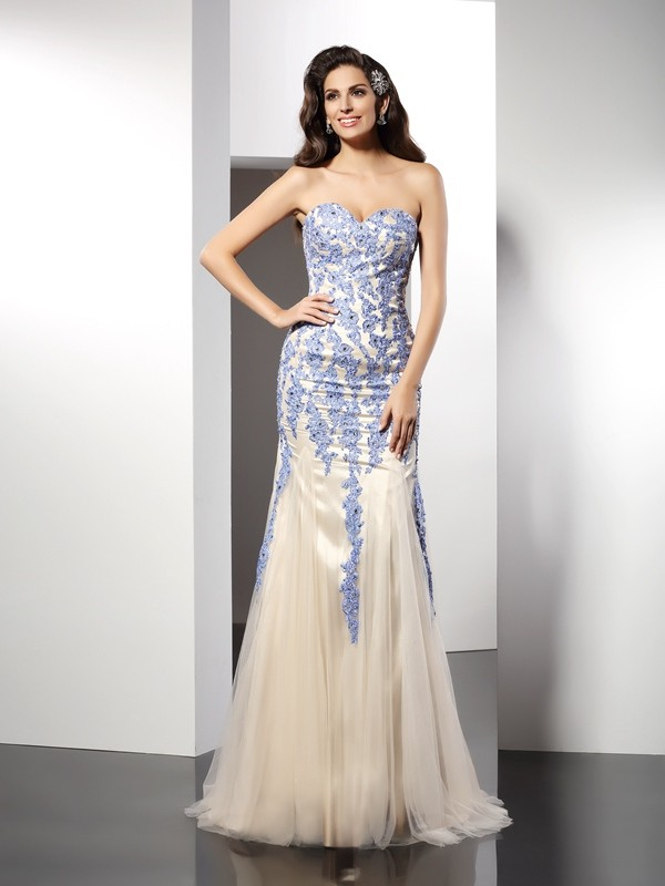 Champagne Mermaid Sweetheart Brush Train Prom Dresses with Applique