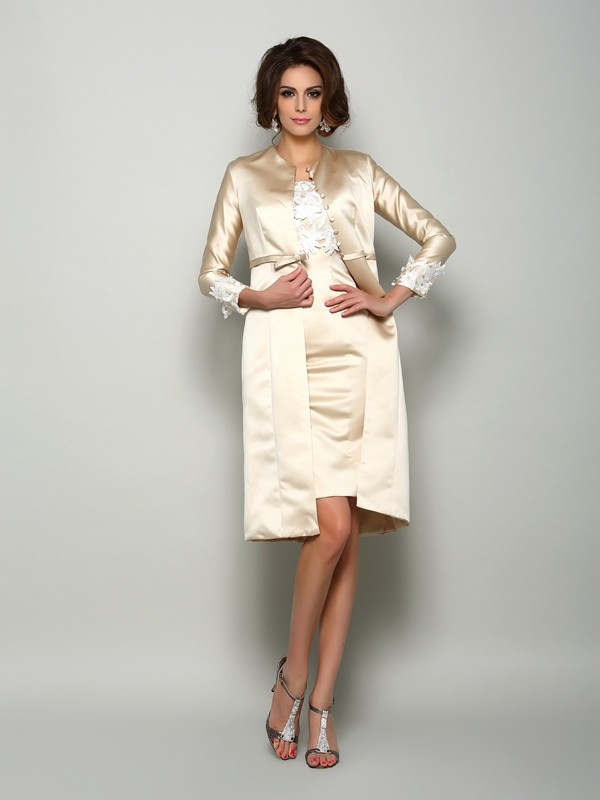 Satin Short Sleeves Square Knee-Length Ivory Mother of the Bride Dresses