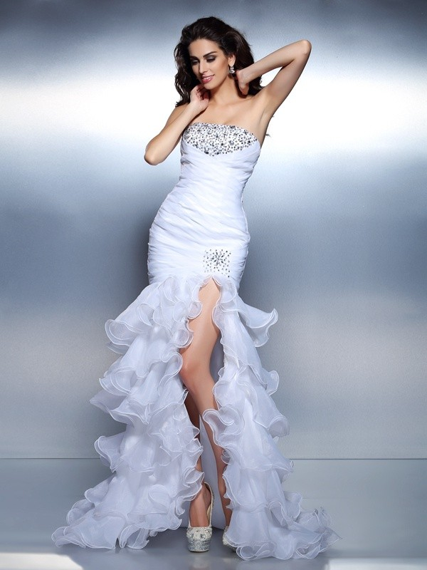 Organza Strapless Floor-Length White Prom Dresses