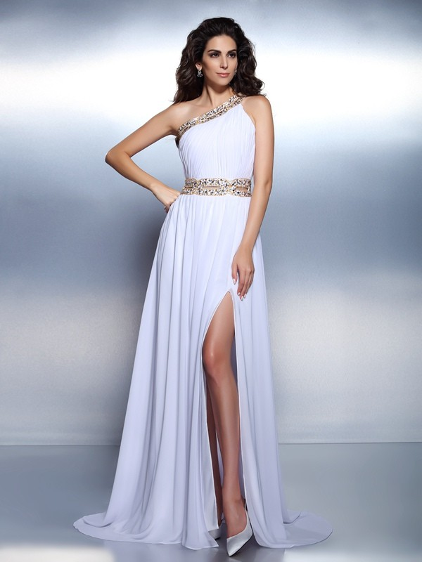 A-Line One-Shoulder Floor-Length White Prom Dresses
