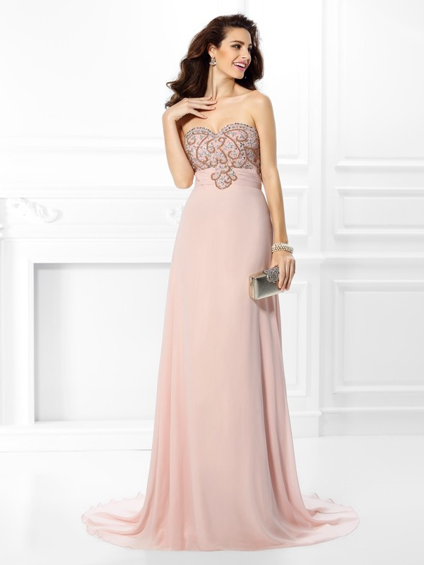 A-Line Sweetheart Brush Train Pearl Pink Prom Dresses with Beading