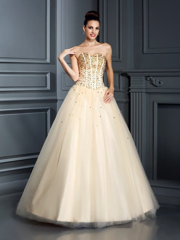 Satin Sweetheart Floor-Length Champagne Prom Dresses