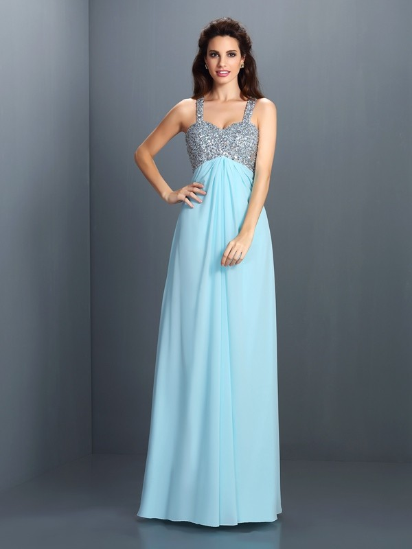 Straps Floor-Length Light Sky Blue Prom Dresses with Beading