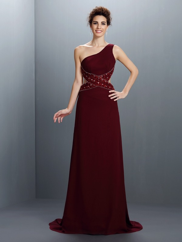 Burgundy A-Line One-Shoulder Brush Train Prom Dresses with Beading