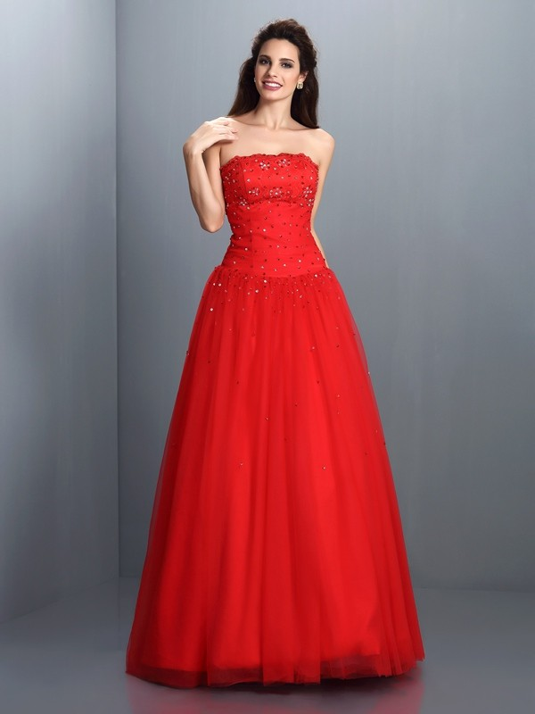 Ball Gown Strapless Floor-Length Red Prom Dresses with Beading
