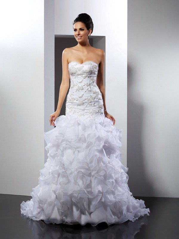 Organza Mermaid Chapel Train Sweetheart White Wedding Dresses