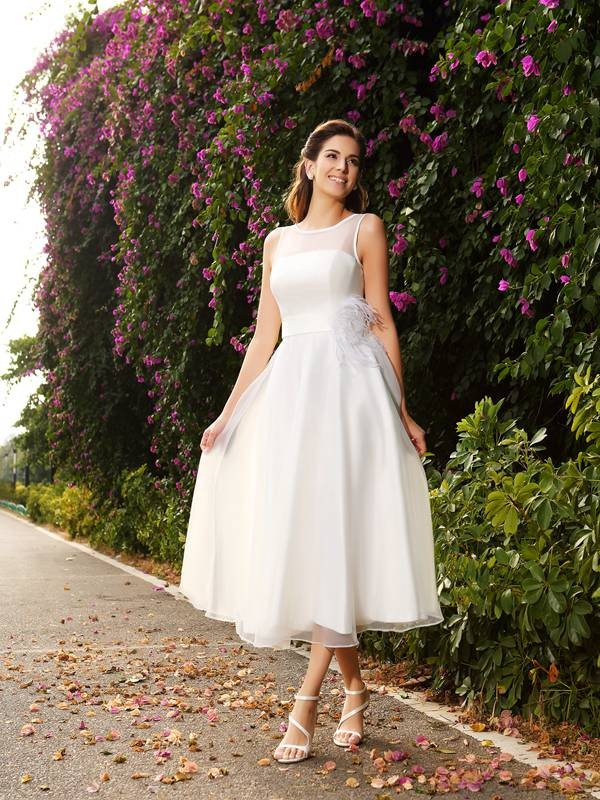 A-Line Bateau Ankle-Length Ivory Wedding Dresses