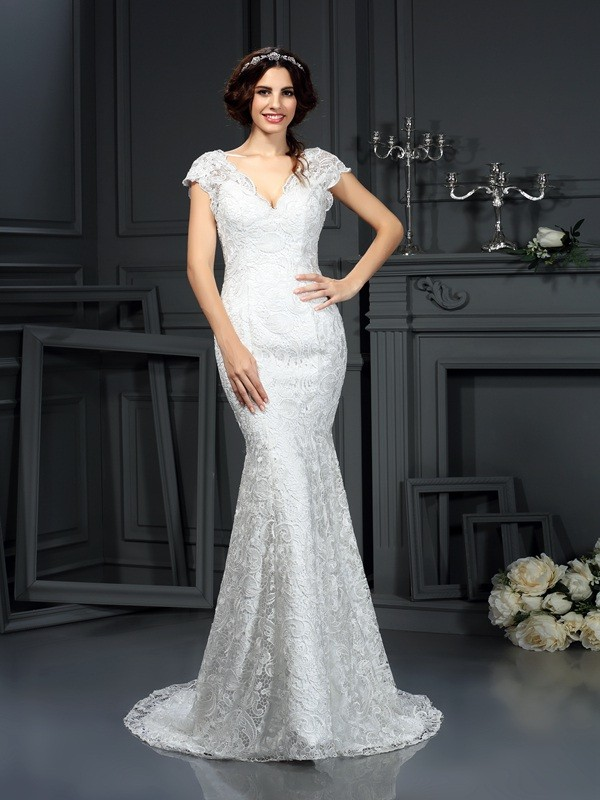 Lace V-neck Court Train Ivory Wedding Dresses