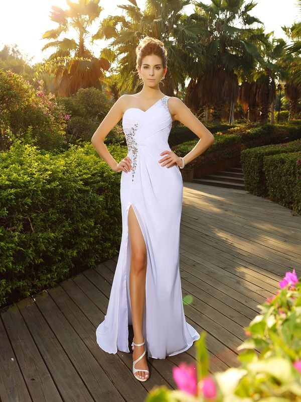 A-Line One-Shoulder Court Train White Wedding Dresses