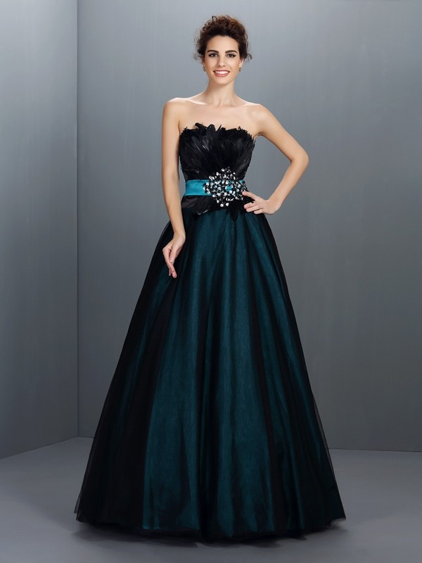 Elastic Woven Satin Strapless Floor-Length Dark Green Prom Dresses