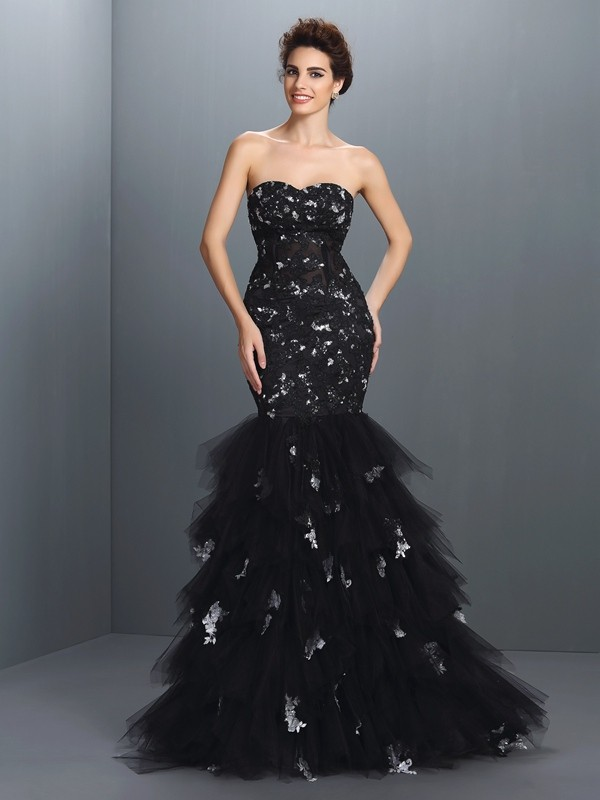 Net Mermaid Floor-Length Sweetheart Black Prom Dresses