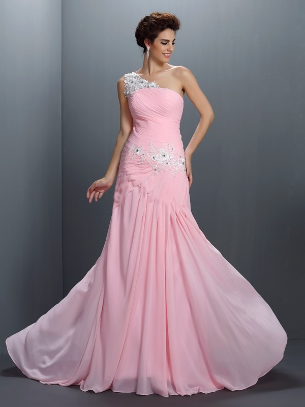 Pink A-Line One-Shoulder Floor-Length Prom Dresses with Beading