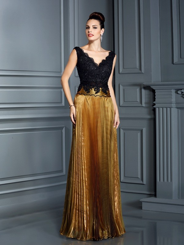 Sheath V-neck Floor-Length Brown Prom Dresses with Pearls