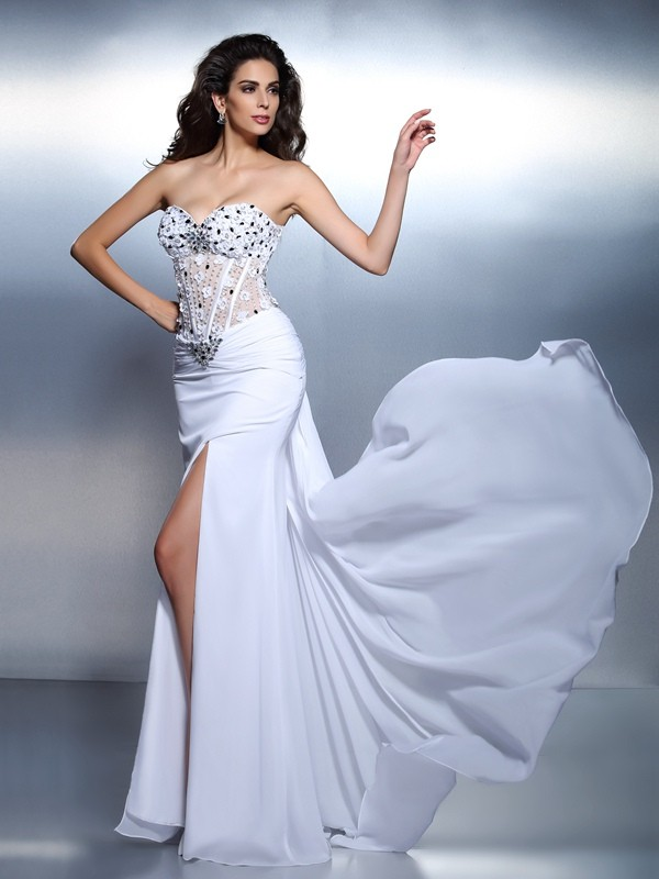 Floor-Length White Sweetheart Prom Dresses with Pleats