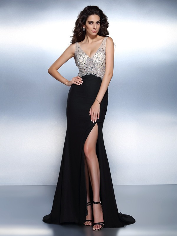 Mermaid Chiffon V-neck Brush Train Black Prom Dresses