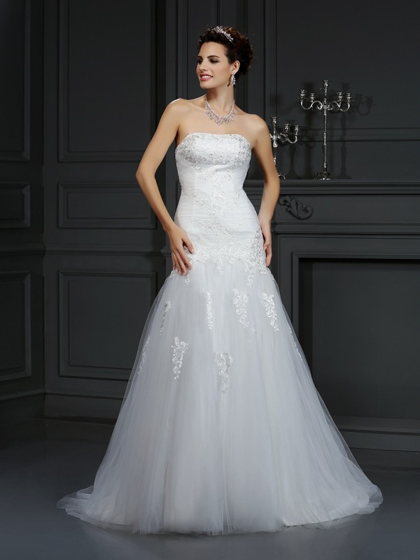 Sheath Strapless Court Train Ivory Wedding Dresses