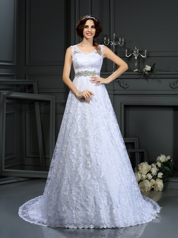 A-Line V-neck Court Train White Wedding Dresses with Lace