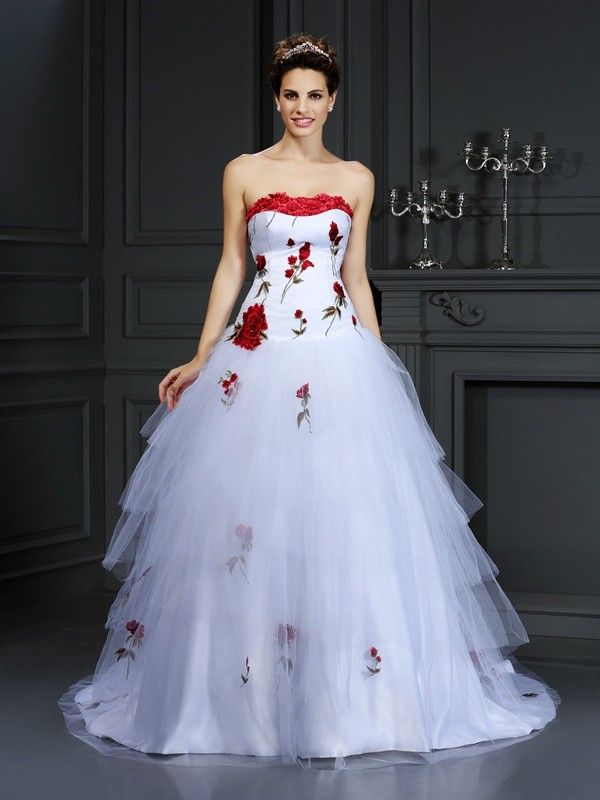 Satin Ball Gown Court Train Strapless White Wedding Dresses
