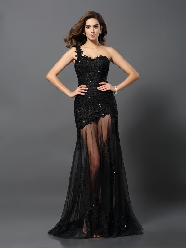 Lace One-Shoulder Brush Train Black Prom Dresses