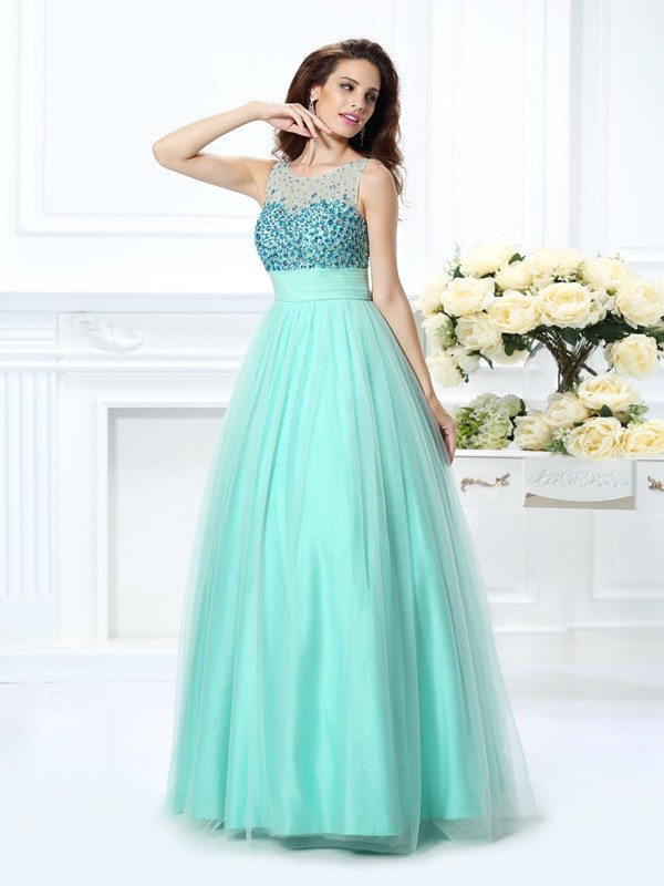Chiffon Ball Gown Floor-Length Bateau Sage Prom Dresses