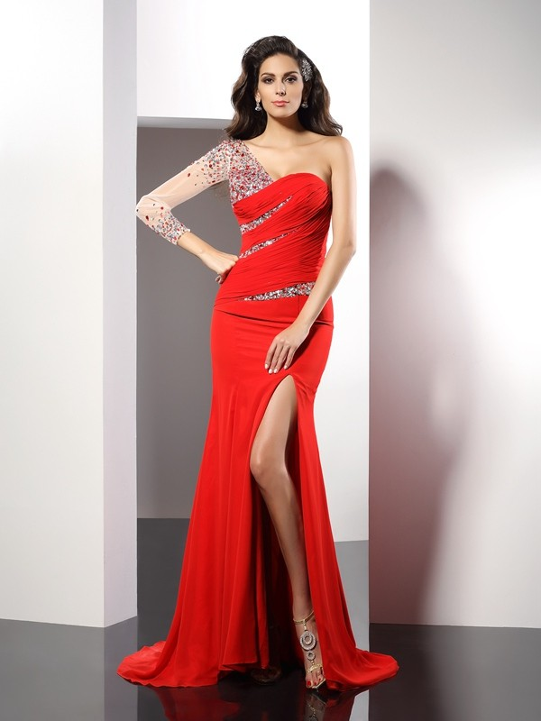 Sheath Chiffon 3/4 Sleeves One-Shoulder Brush Train Red Prom Dresses