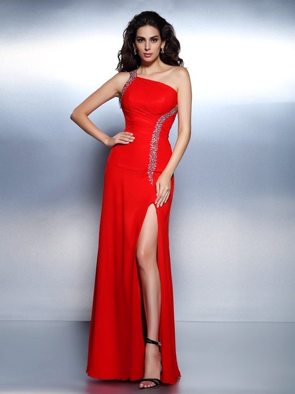 Chiffon One-Shoulder Floor-Length Red Prom Dresses