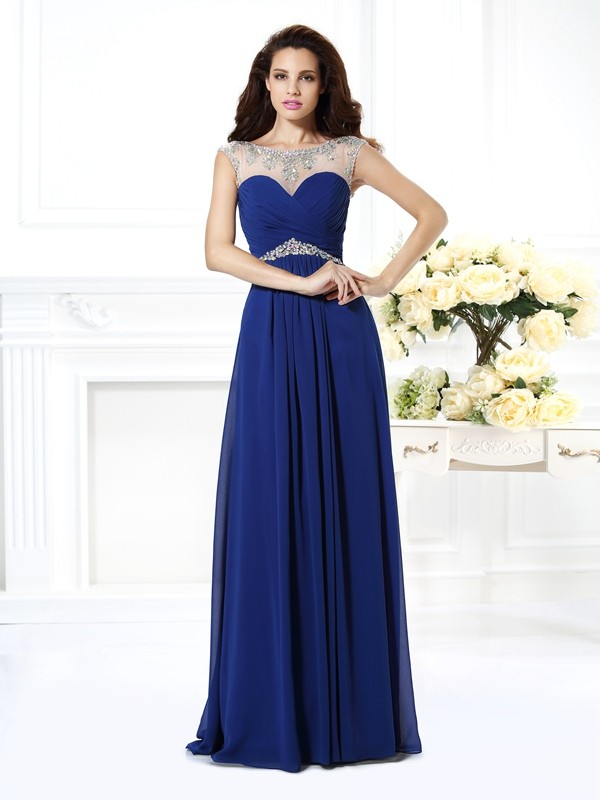 Floor-Length Royal Blue Bateau Prom Dresses with Beading