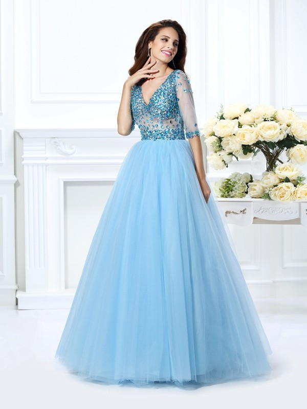 Ball Gown Satin Half Sleeves V-neck Long Prom Dresses with Beading