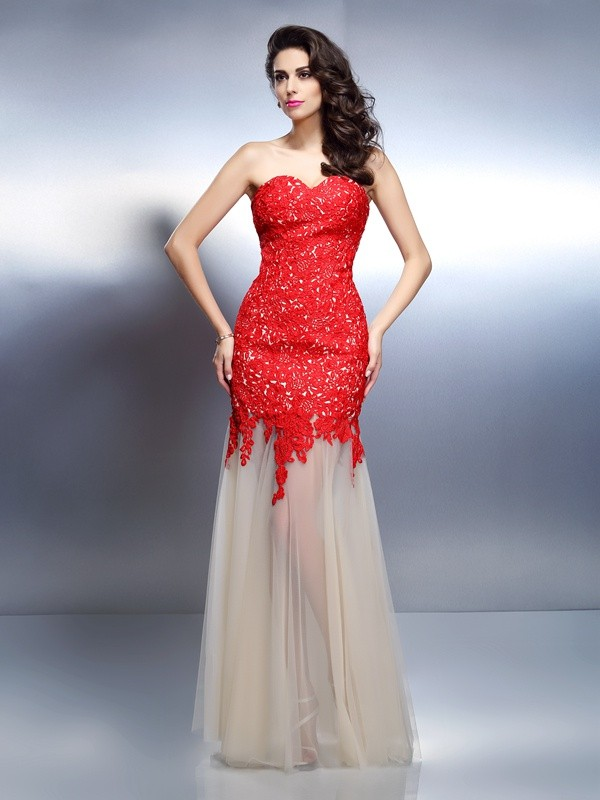 Floor-Length Red Sweetheart Prom Dresses with Applique