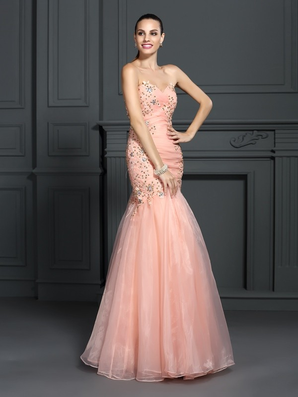 Mermaid Sweetheart Floor-Length Orange Prom Dresses with Applique