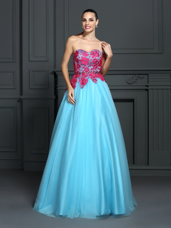 Ball Gown Sweetheart Floor-Length Blue Prom Dresses with Lace