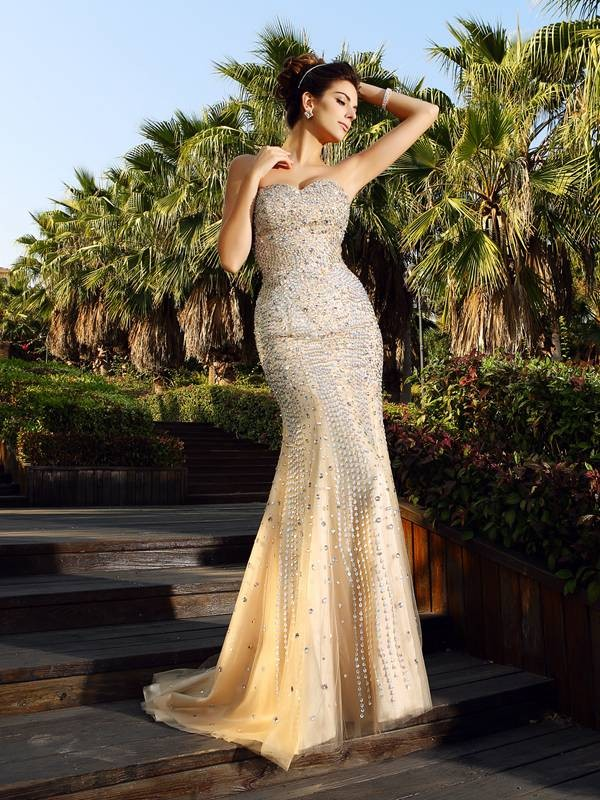 Mermaid Sweetheart Court Train Champagne Prom Dresses