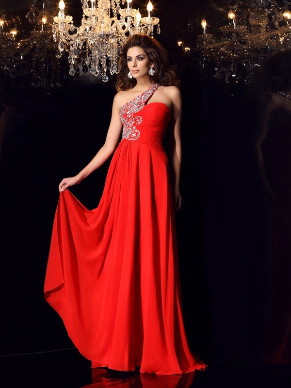 A-Line Chiffon One-Shoulder Brush Train Red Prom Dresses