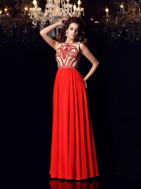 A-Line Scoop Floor-Length Red Prom Dresses with Beading