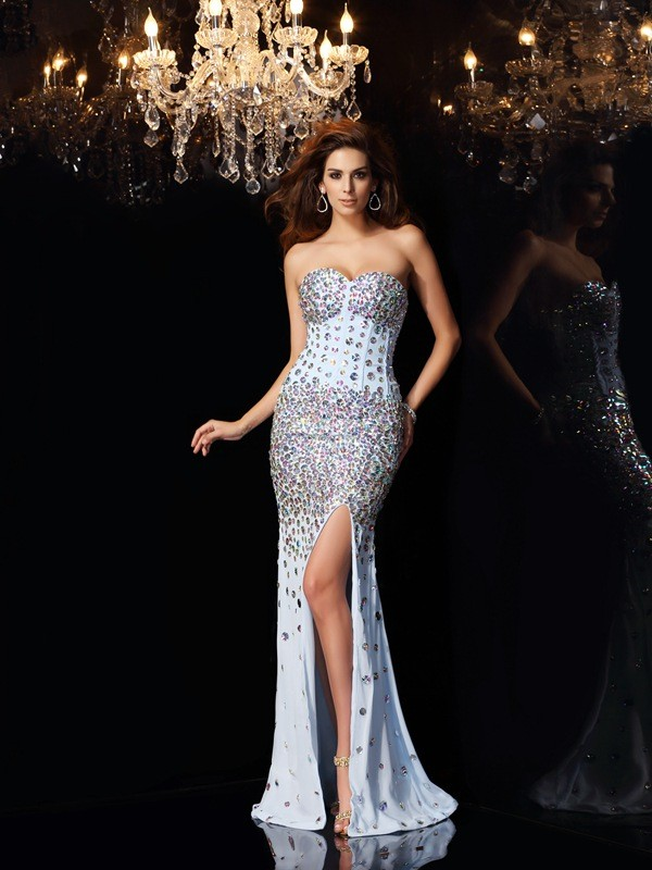 Mermaid Chiffon Sweetheart Brush Train Prom Dresses with Rhinestone