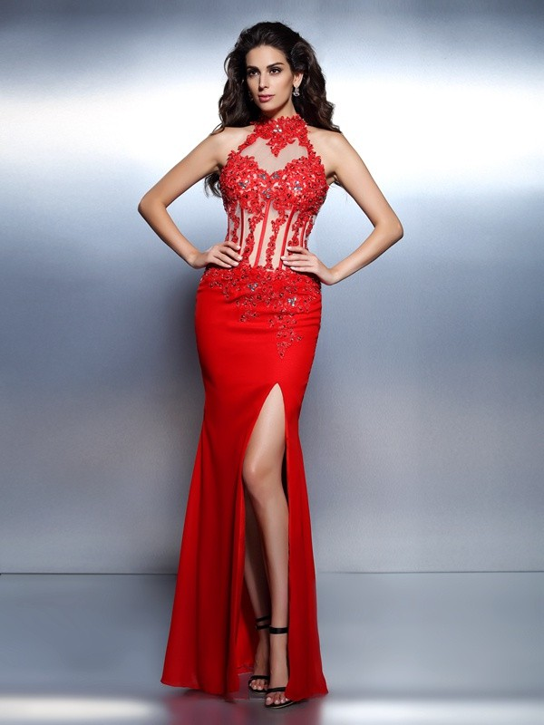 Mermaid High Neck Floor-Length Red Prom Dresses