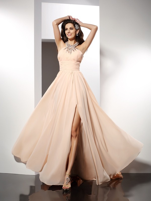 A-Line Jewel Brush Train Champagne Prom Dresses