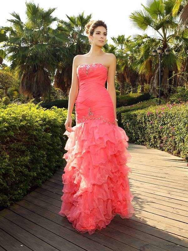 Mermaid Organza Strapless Floor-Length Prom Dresses with Beading