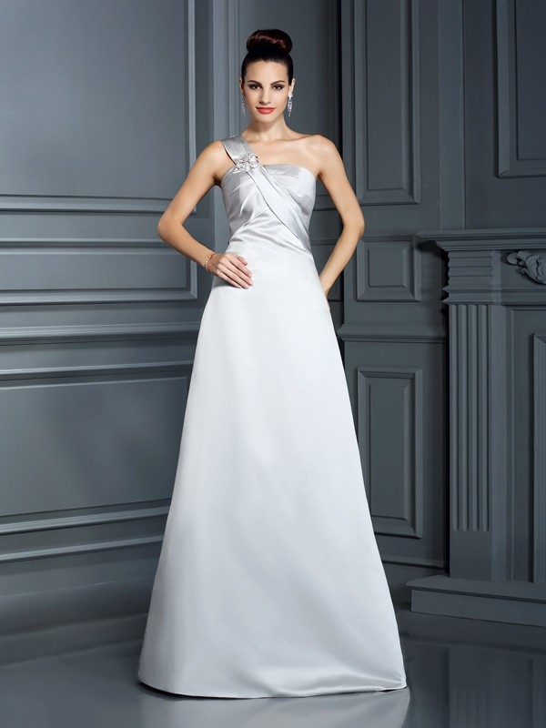 A-Line One-Shoulder Floor-Length Silver Prom Dresses