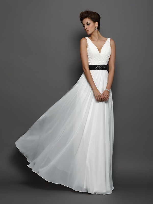 Floor-Length Ivory V-neck Wedding Dresses