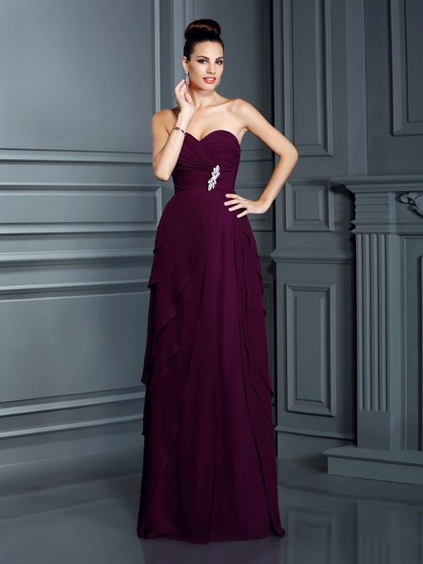 Chiffon Sweetheart Floor-Length Grape Prom Dresses