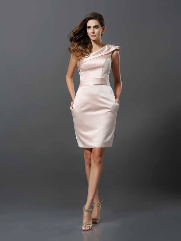 Sheath One-Shoulder Knee-Length Pearl Pink Homecoming Dresses