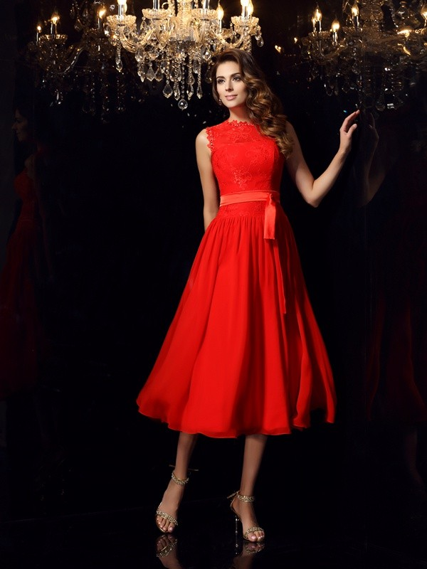 Chiffon High Neck Tea-Length Red Prom Dresses