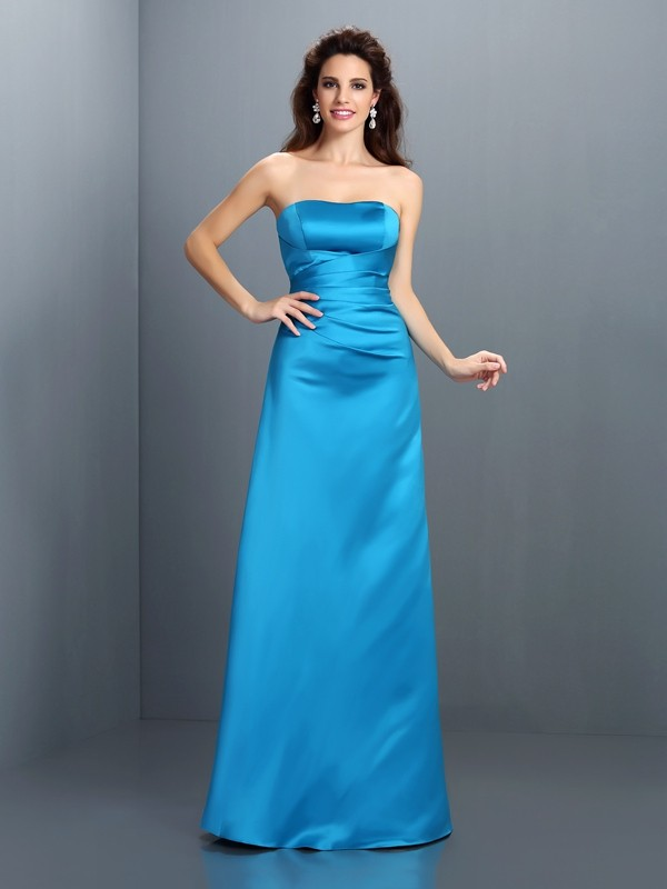 A-Line Satin Strapless Floor-Length Bridesmaid Dresses
