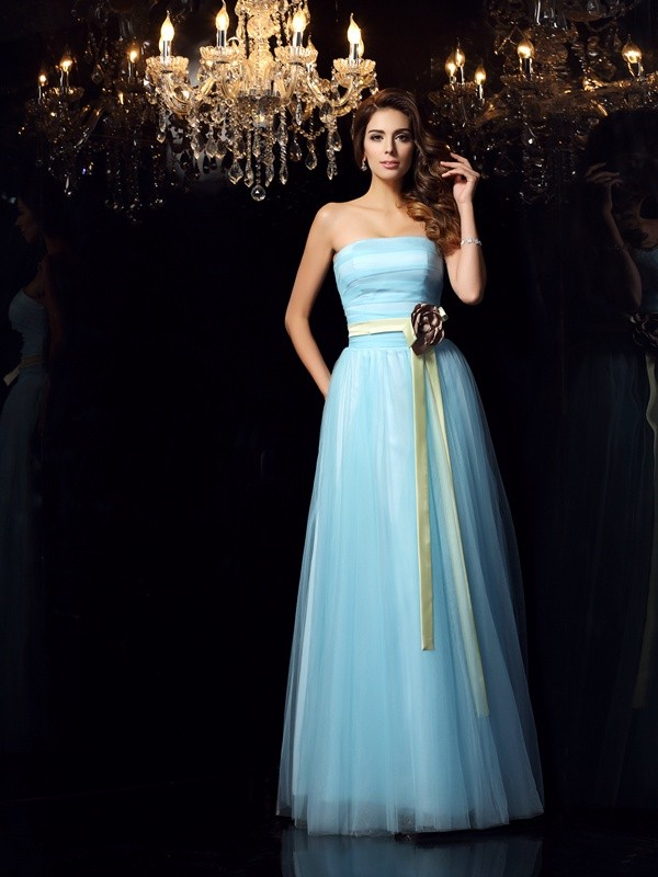 Blue Strapless Satin Floor-Length Prom Dresses