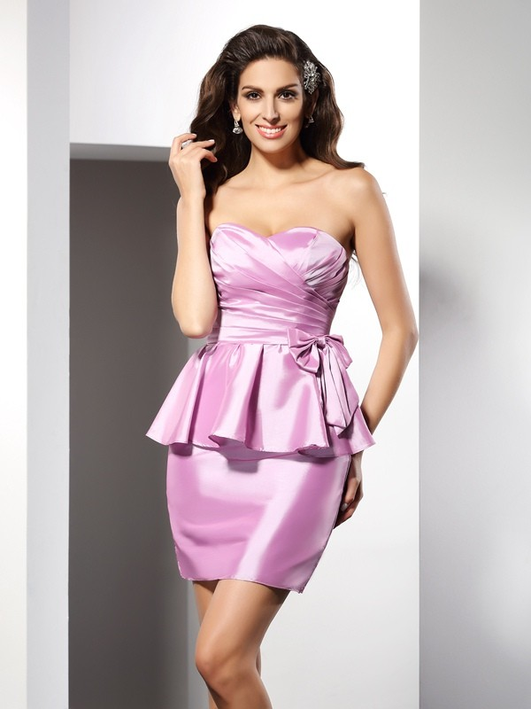 Taffeta Sweetheart Short/Mini Pink Homecoming Dresses