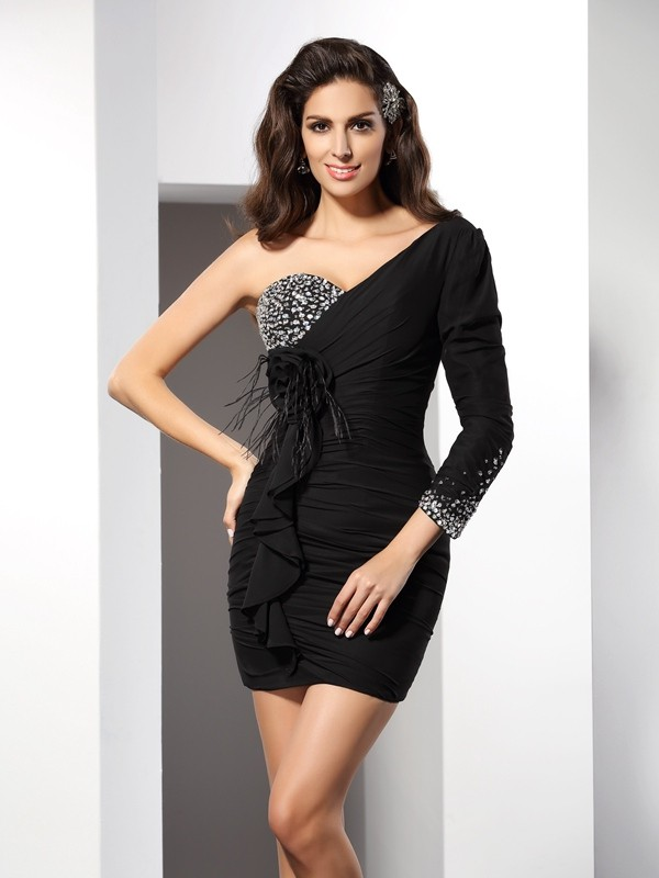 Sheath One-Shoulder Short/Mini Black Homecoming Dresses